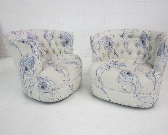 White Peacock Swivel Chairs -