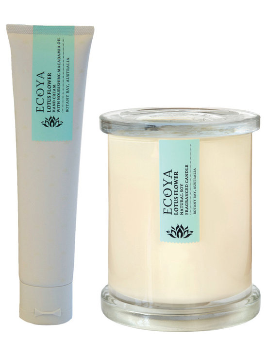 Lotus Flower Soy Candle & Lotion Set - A perfectly matched set of 2.5oz hand lotion and candles from Botany Bay, Australia in a heavenly blend of white lotus flower contrasted with deep shades of vanilla and cream. The natural soy candles are hand-poured in a contemporary white jar and the matched lotion is perfect for those on-the-go.