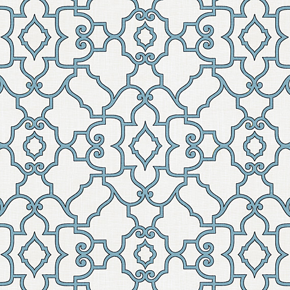 Turquoise Scroll Trellis Cotton Fabric contemporary-upholstery-fabric