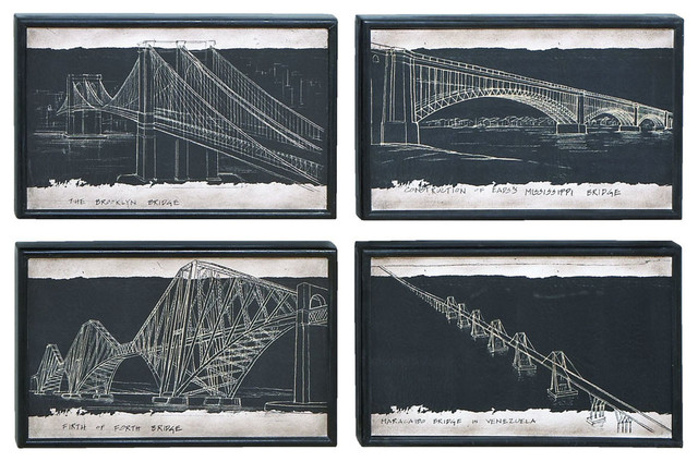 Blueprint Style Art With Iconic World Bridges - Traditional - Artwork - by Modern Furniture ...