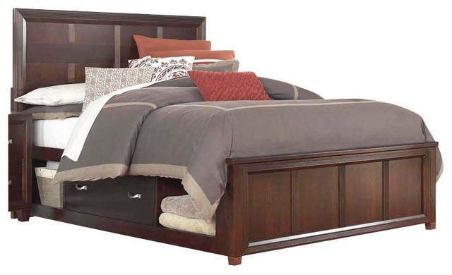 Broyhill Eastlake 2 Panel Single Underbed Storage Bed In Brown Cherry Traditional Beds By