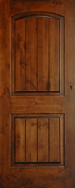 Mediterranean doors knotty alder arch 2 panel v groove for Mediterranean interior doors