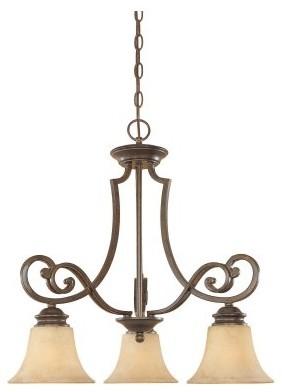 Designers Fountain 81883 Mendocino 3 Light Down Chandelier in Forged Sienna Fini modern-chandeliers