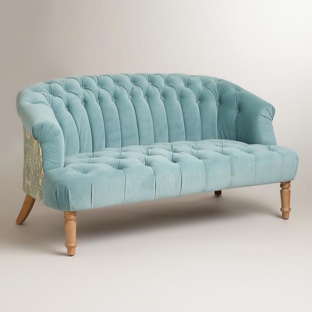 Cloud Blue Abigail Love Seat - Contemporary - Loveseats - by Cost Plus World Market