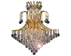 "11-Light 22"" Gold Finish Crystal Chandelier Contour Design contemporary-chandeliers"