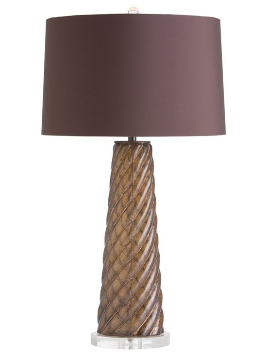 Arteriors Home - Joni Table Lamp - Joni Table Lamp features an Ivory microfiber shade with a Metallic Silveria base or a Chocolate microfiber shade with a Bronze Luster base. Comes with an 8 foot cord. One 150 watt, 120 volt A19 3-Way type medium base incandescent bulb is required, but not included. UL listed. 16 inch width x 30 inch height.
