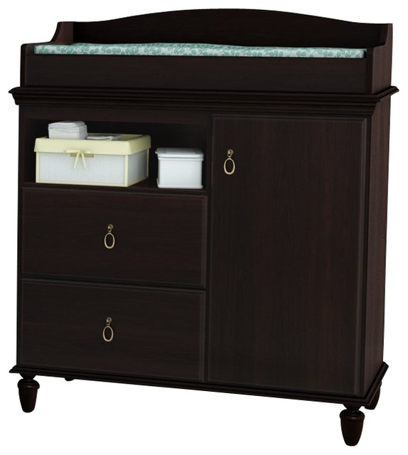South Shore Moonlight Changing Table In Dark Mahogany Transitional Changing Tables By Cymax