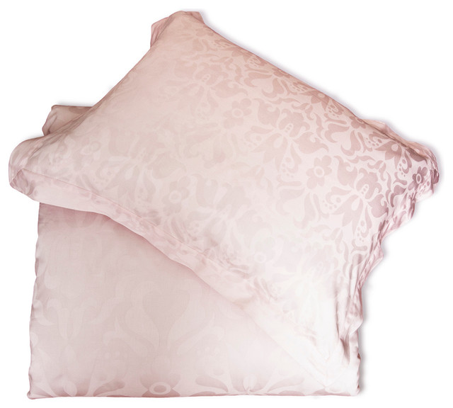Luxe Jacquard Duvet Cover, The Montgomery Pink modern-duvet-covers