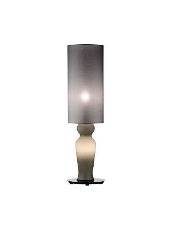 Venini - Odalische Table Lamp - Odalische Table Lamp features a Milk White fabric shade with a Milk White finish,  Grey fabric shade with a Grey finish, Black Fabric Shade with a Red finish, or Grey fabric shade with a Red finish. Available in small and large sizes. Large has a nightlight in the base of the lamp and requires one 25 watt, 120 volt JCD type G9 base halogen bulb, not included. Both sizes require one 60 watt, 120 volt JCD type G9 base halogen bulb, not included. Small: 9.46 inch width x 18.5 inch height. Large: 9.46 inch width x 31.49 inch height.