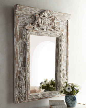 Brushed-White Wood Mirror traditional mirrors