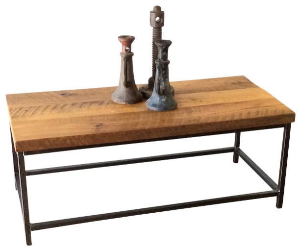 Stoic Reclaimed Wood Coffee Table With Steel Base Industrial Coffee Tables By What We Make