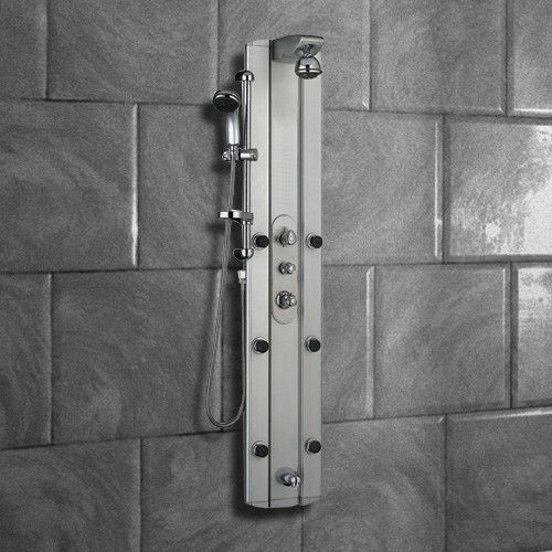 Multi function shower tower panel column system with tub for Shower tower with body jets