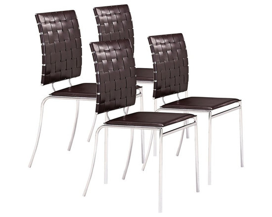 "Zuo - Espresso Set of Four Criss Cross Chairs - The faux-leather strap back is slightly curved for back comfort. It looks great when paired with a solid flat seat. The metal frame looks sleek and clean and will enhance every decor from modern to transitional. Set includes four chairs. Espresso leatherette backs. Chrome steel tube frame. 35"" high. 17"" wide. 21"" deep. Seat is 15 1/2"" deep 18"" high.  Set includes four chairs.  Espresso leatherette backs.   Chrome steel tube frame.  35"" high.  17"" wide.  21"" deep.  Seat is 15 1/2"" deep 18"" high."