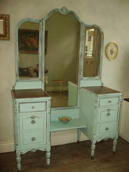 shabby chic makeup vanity - hand painted distressed shabby chic vintage  vanities by my - Shabby - Painted Antique Vanity Antique Furniture