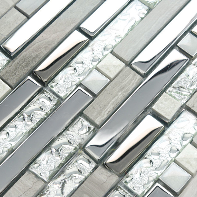 Interlocking mosaic tile sheets stainless steel glass and stone blend wall tiles modern-tile