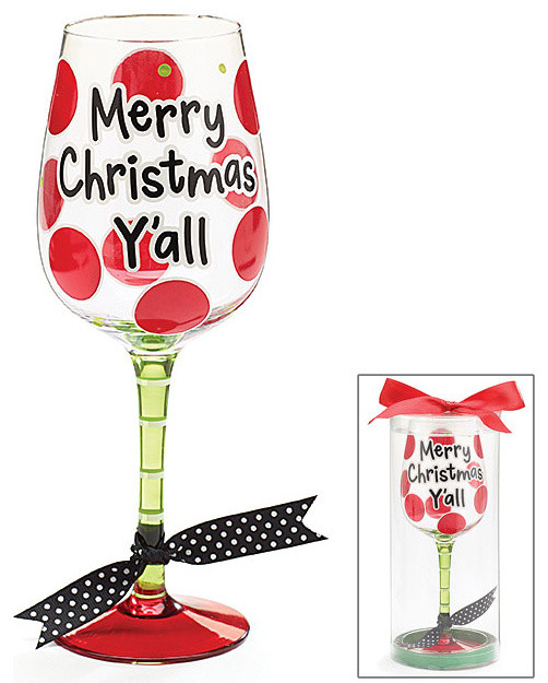 Merry Christmas Yall Wine Glass Decorative Cup Cute