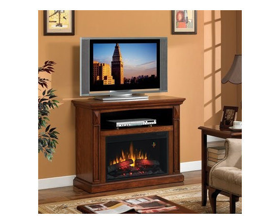 Fairmont - Using a compact freestanding fireplace as a TV stand adds class to any entertainment center.