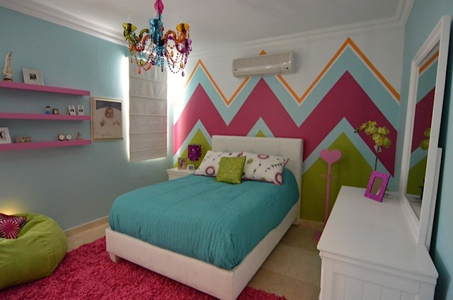 Teen Girls Chevron Bedroom Modern Bedroom