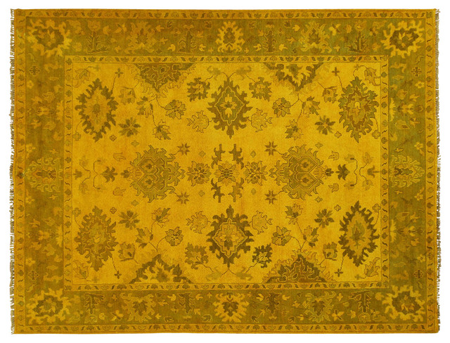 Floral Overdyed Oushak Mustard Yellow 9 X12 Hand Knotted