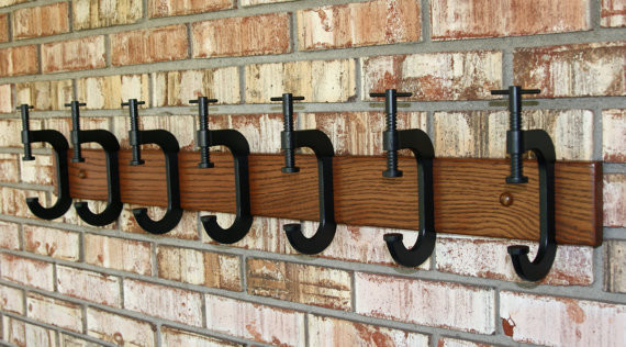 C Clamp Coat Rack by G.B. Trains eclectic hooks and hangers