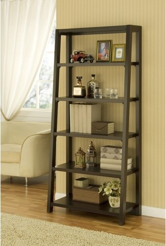 Heida Five-Shelves Ladder Style Bookcase / Display Cabinet in Warm ...