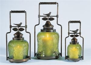 Nested Bird Candle Lanterns - 3 lantern set eclectic outdoor lighting