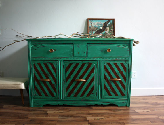 Vintage Art Deco Emerald Green Buffet Dresser by The Turquoise Iris eclectic-buffets-and-sideboards