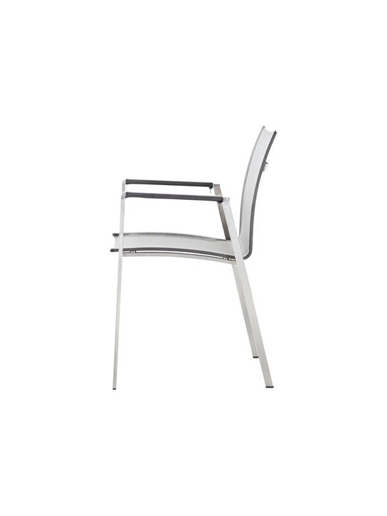 Stainless Steel Patio Chair - Top of the line cast stainless steel chair with Phifer sling fabric.  This chair is durable enough to be kept outdoors and beautiful enough for indoor use.  Buy through DefySupply and save over 50%.