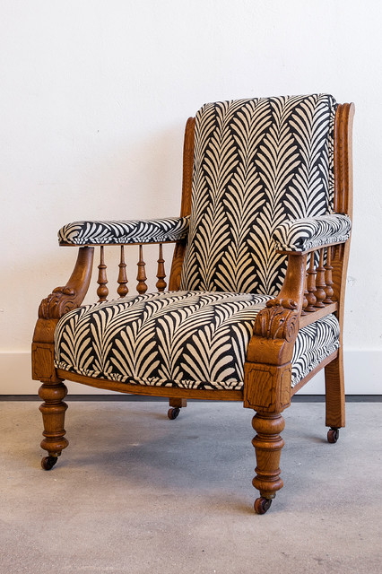 Horatio, Antique Victorian Library Chair Newly Upholstered - Eclectic - Armchairs And Accent ...