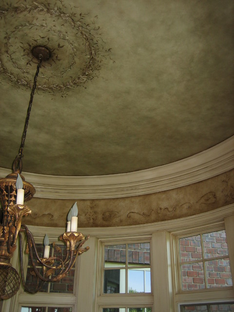 Hand plastered and hand painted ceiling medallion mediterranean