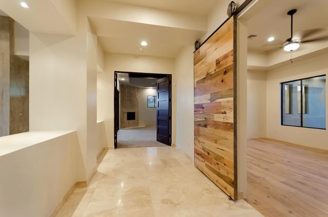 Sliding Barn Door - Tobacco Barn Wood Modern Door w/ Integrated Hardware