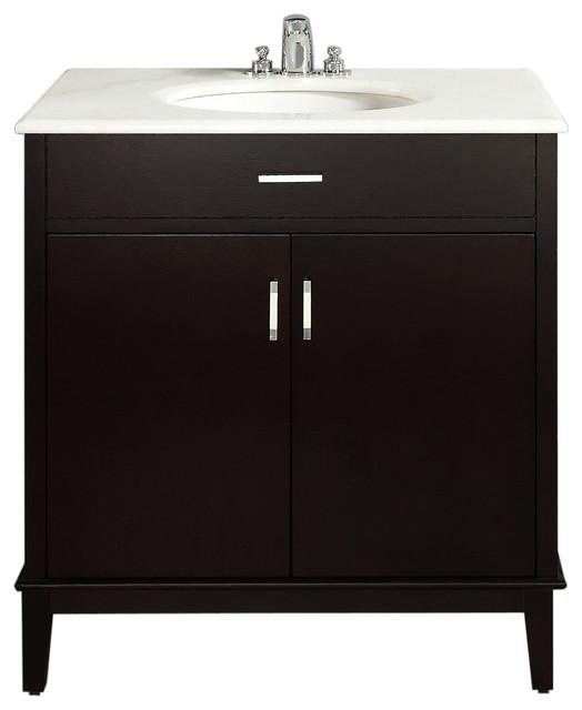 Oxford dark espresso brown 30 inch bath vanity with 2 - 30 inch white bathroom vanity with sink ...