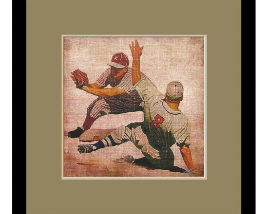 Mantle Art Company - Vintage Baseball II custom framed art - Beautiful modern art custom framed by designers to bring out the best in this piece of art. Made in the USA