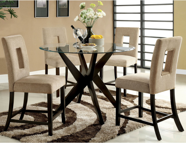 Furniture of America Novae 5 Piece Round Glass Counter  : contemporary dining sets from www.houzz.com size 640 x 494 jpeg 117kB