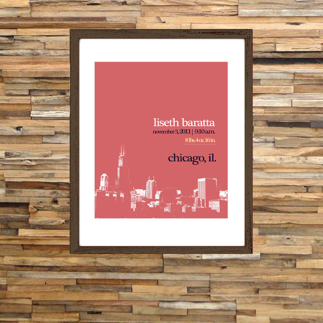 Baby Birth Stats Print - Chicago contemporary-nursery-decor
