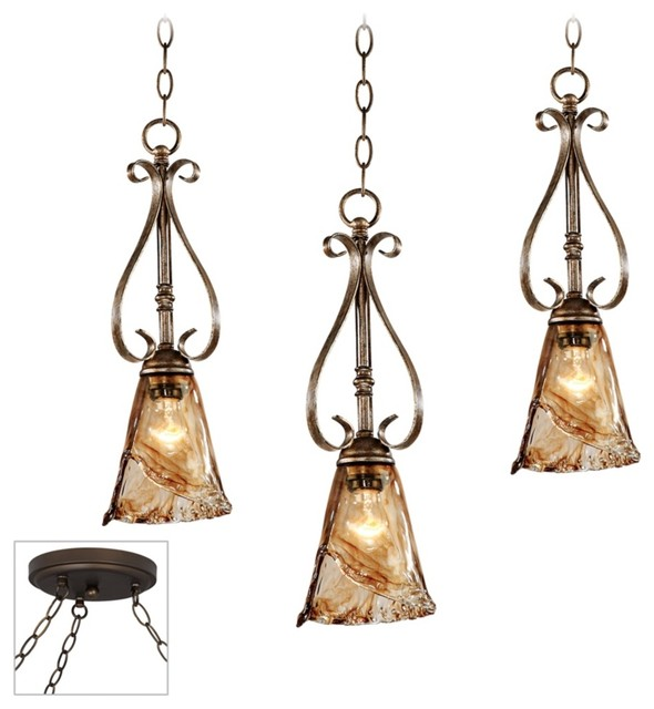 Traditional Amber Scroll Bronze Triple Multi Light Pendant traditional-pendant-lighting