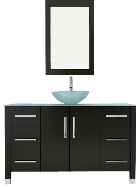 "47.25"" Grand Crater Single Vessel Sink Modern Bathroom Vanity with Glass Top modern"