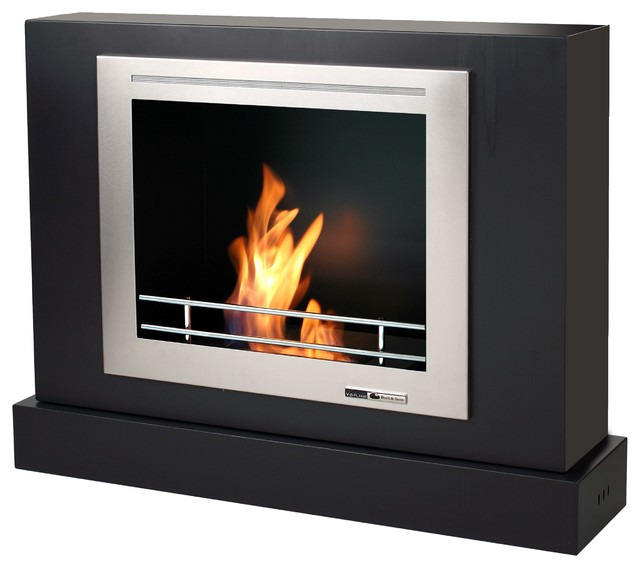 Ethanol Fueled Wall Mount Or Portable Rectangular Fireplace Black Stainless Modern