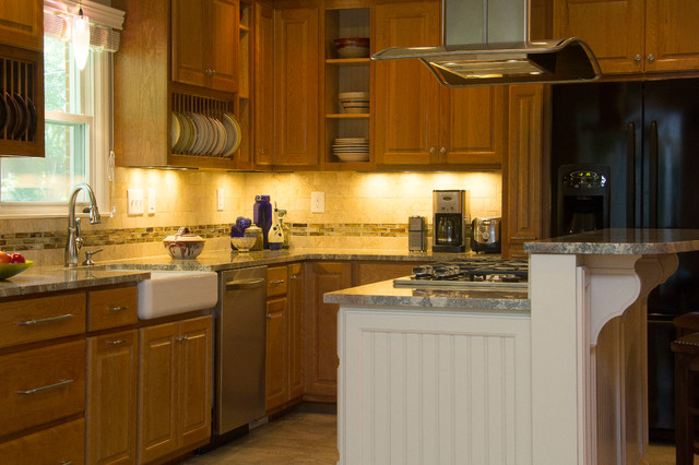 Red Accented Cherry And Cream Kitchen Transitional Kitchen