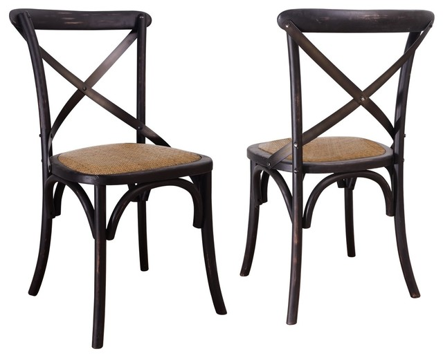 Elm Wood Rattan Antique Dining Chairs - Traditional - Dining Chairs ...