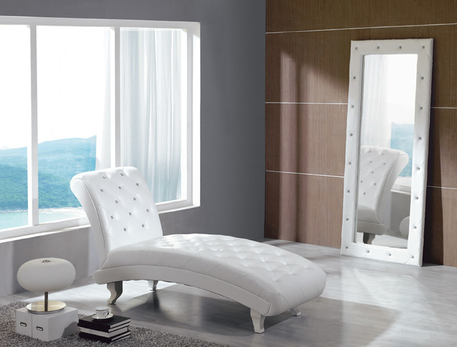 Monte Carlo White Leather Chaise with Crystals modern-furniture