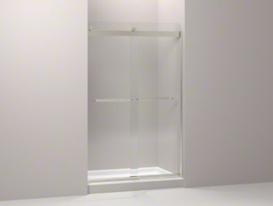 "KOHLER Levity Sliding Shower Door with Towel Bar and 1/4"" Crystal Clear Glass contemporary-shower-doors"