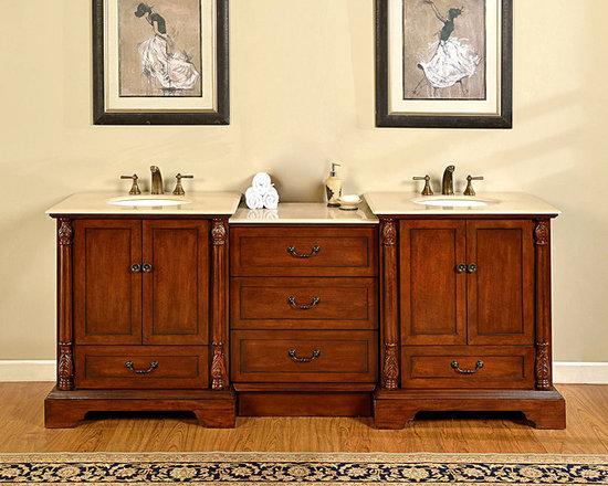"""Silkroad Exclusive 87"""" Single Sink Cabinet - Crema Marfil Top, Undermount White - Silkroad Exclusive 87"""" Single Sink Cabinet - Crema Marfil Top, Undermount White Ceramic Sink (3-hole) JB-0270-CM-UWC-87 - See more at: http://www.homethangs.com/bathroom-vanities/silkroad-exclusive/p/silkroad-exclusive-jb0270cmuwc87.html"""