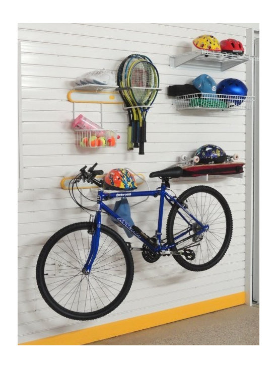 """GarageTek Bike and Racket Lifestyle Kit - The GT573 Bike and Racket Lifestyle Kit on TekPanel brings together two activity racks, a basket, a shelf and two brackets. The rack maximises use of a 56"""" x 96"""" space. £330.99."""