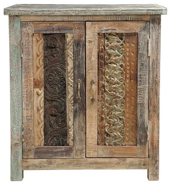 Carved Wood Block Cabinet - Eclectic - Buffets And Sideboards - new ...