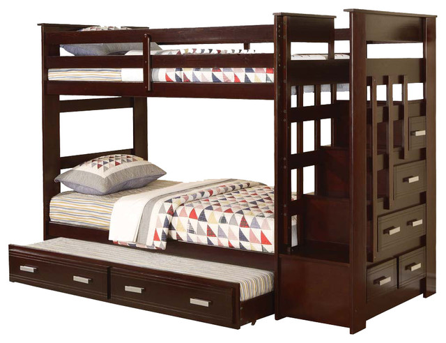Allentown Espresso Wood Twin Twin Bunk Bed W Storage Stairway Drawers Trundle Contemporary