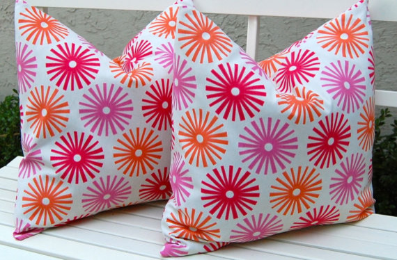 Pink and Orange Pinwheels Throw Pillow Covers by Festive Home Decor contemporary pillows
