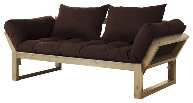 Edge Convertible Futon Sofa Bed Natural Frame Chocolate