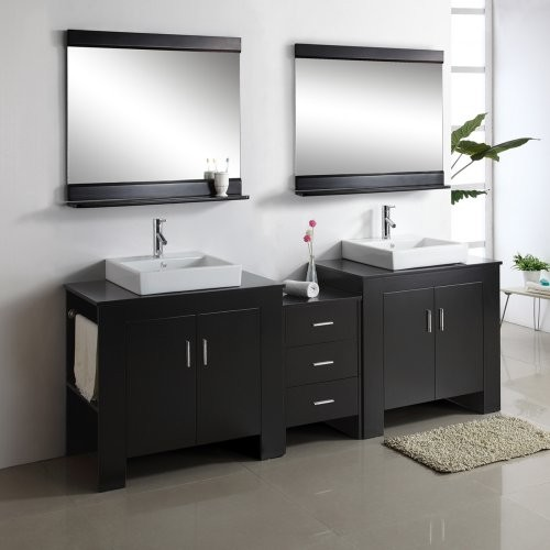 Virtu USA Tavian 90-in. Espresso Double Bathroom Vanity Set MD ...