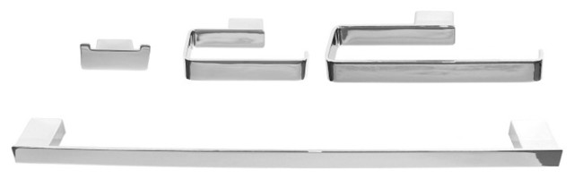 Wall Mounted 4-Piece Square Bathroom Accessory Set in Chrome contemporary-bathroom-accessories